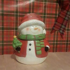 """Santa snowman canister 7"""" dishwash safe No Offers"""